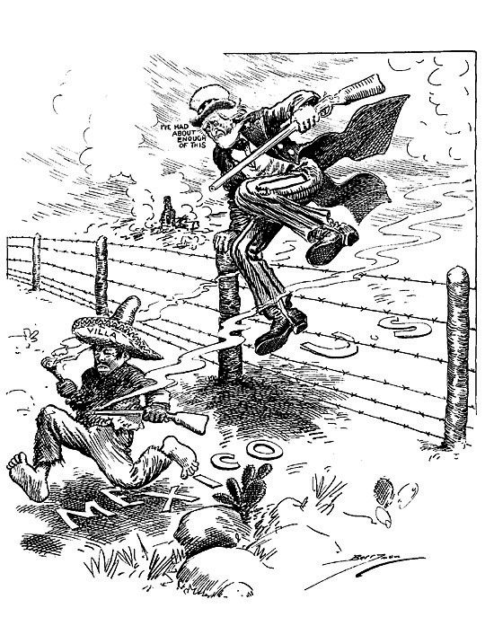 Black and white cartoon drawing of Uncle Sam, rifle in hand, leaping ...
