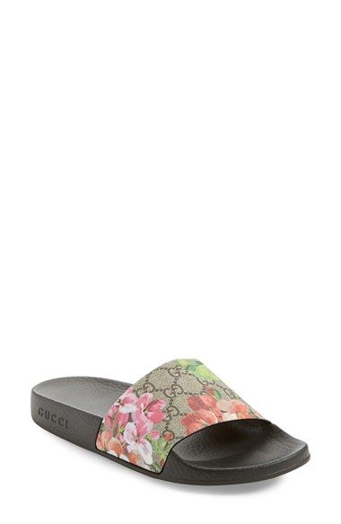 56a3bd7347b1 Free shipping and returns on Gucci Pursuit Slide Sandal (Women) at  Nordstrom.com. A floral-and-logo-print strap defines a well-cushioned sandal  featuring a ...