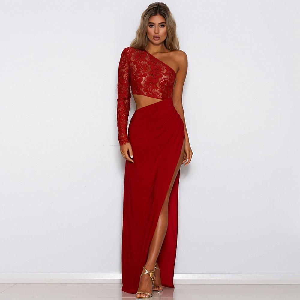 Lace one shoulder slit maxi dress in products pinterest