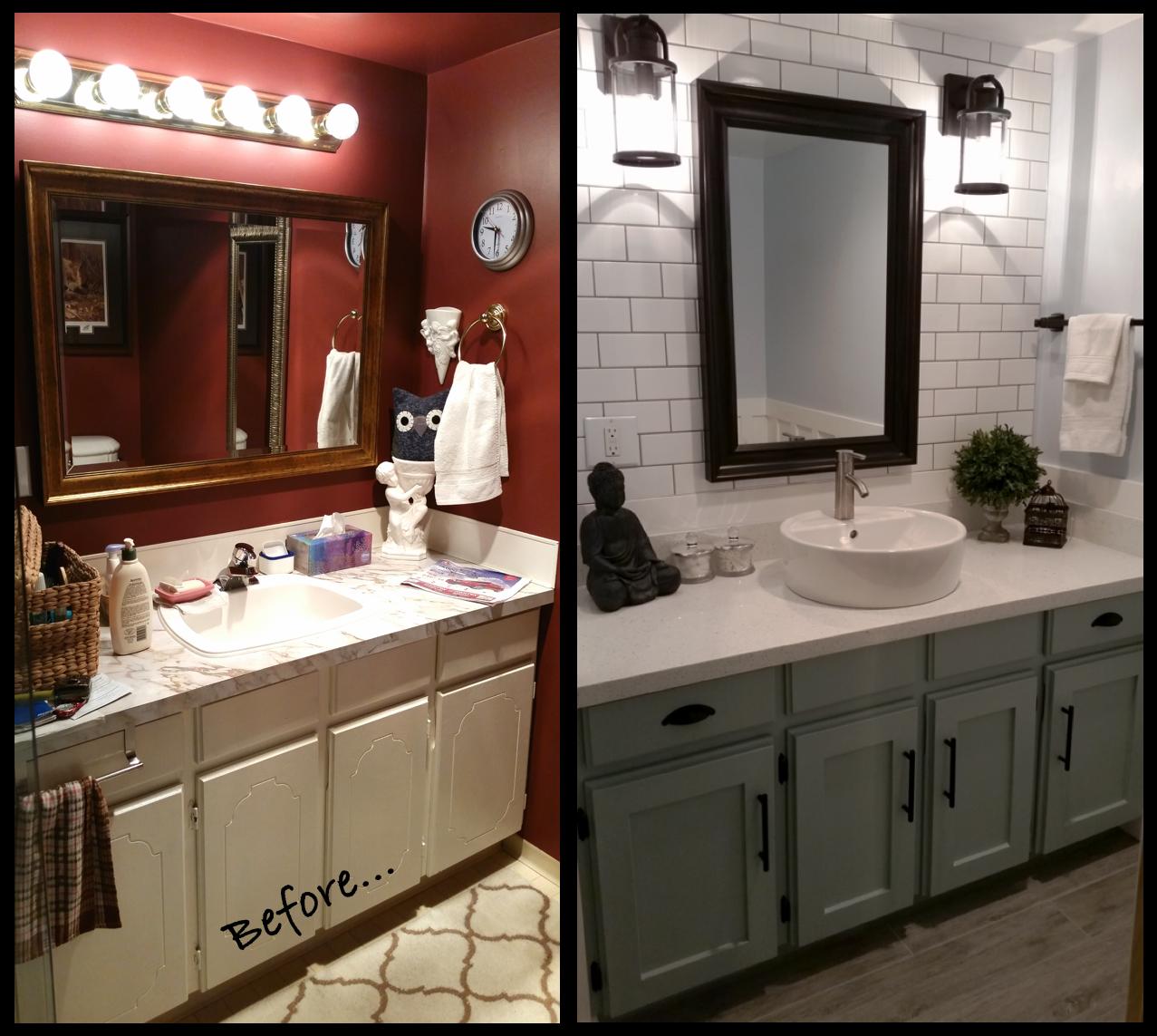 Blue Farmhouse Bathroom Renovation. White Subway Tile. Grey Wood. Industrial Light Fixtures. Zen