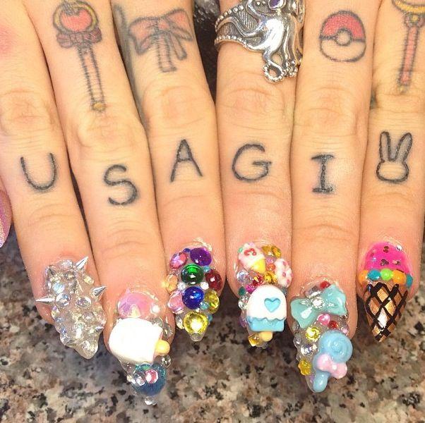 sailor moon finger tattoos