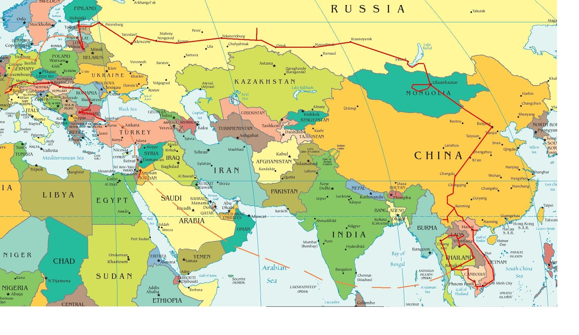 Eastern World Map Europe And Middle East Partial Asia Nextread Me