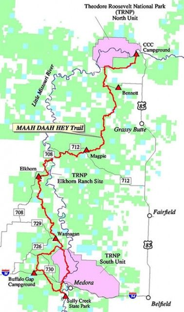 The Maah-Daah Hey trail map | Maah daah hey trail, Trail ... on jordan river pathway trail map, long trail map, art loeb trail map, duncan ridge trail map, superior hiking trail map, downieville downhill trail map, silver comet trail map, phil's world trail map, big finn hill trail map, gooseberry mesa trail map, tahoe rim trail trail map, sheltowee trace trail map, new river trail state park map, pacific northwest trail map, ruby crest trail map, ouachita national recreation trail map, ozark trail map, mickelson trail south dakota map, metacomet-monadnock trail map, wasatch crest trail map,