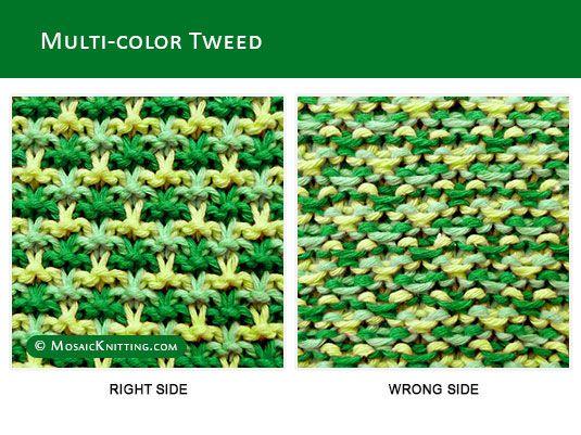 Mosaic Knitting Three Colour Slip Stitch Pattearn Knit Multi