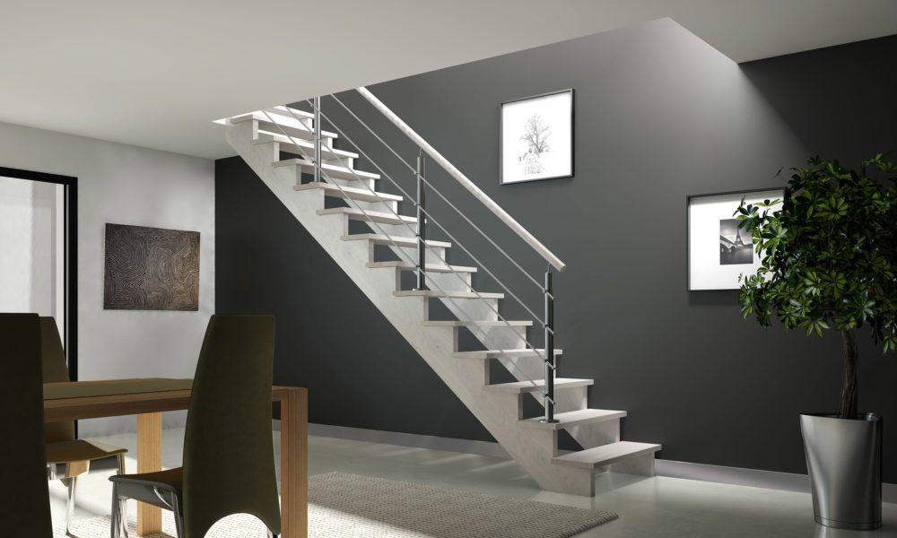 escalier droit sur double cr maill re excentr e r alis en ch ne sans contremarches poteaux de
