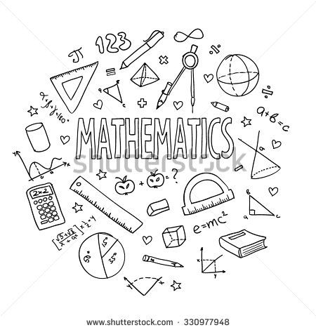 Hand drawn vector school set, mathematics. Can be used for