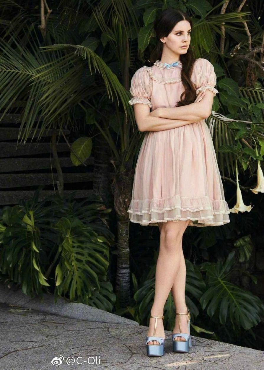 Lana Del Rey #LDR white lace babydoll dress long red nails