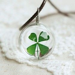 Véritable Four Leaf Clover Lucky Charm Collier