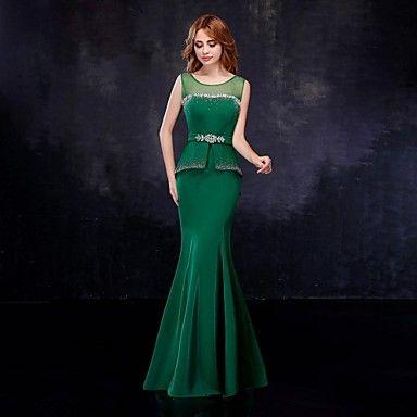 Formal+Evening+Dress+Trumpet+/+Mermaid+Scoop+Floor-length+Chiffon+/+Tulle+with+Crystal+Detailing+/+Sash+/+Ribbon+–+USD+$+89.99