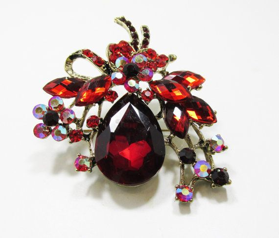 Dramatic Vintage Late 1980s Gold Toned Ruby Red by GildedTrifles