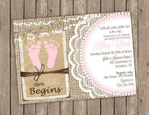 Rustic Burlap Baby Shower Invitation Pink Baby Footprints