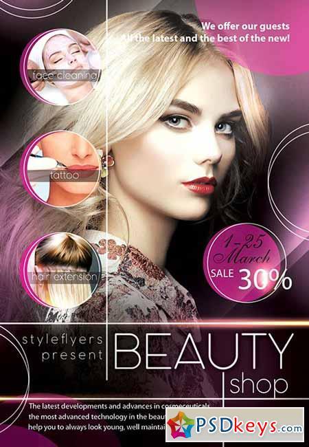 Beauty Shop PSD Flyer Template + Facebook Cover Beauty