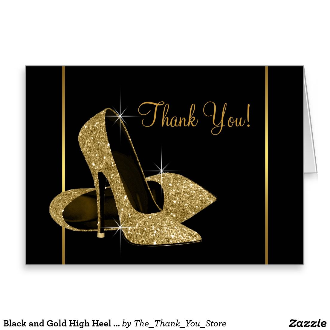 Black And Gold High Heel Shoe Thank You Zazzle Com Gold High Heel Shoes Gold High Heels Black Gold Jewelry