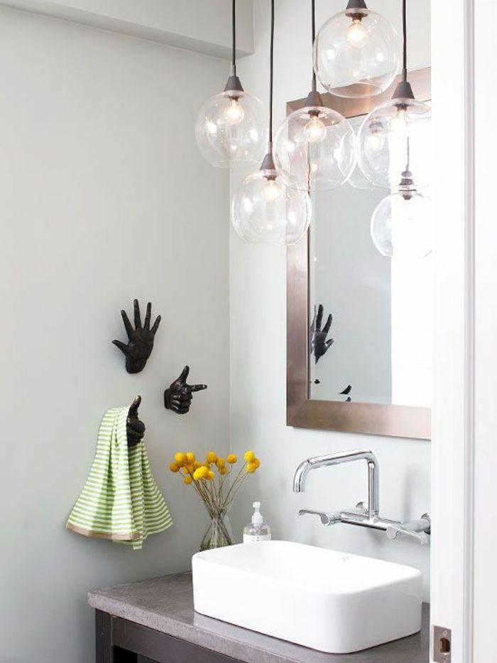 Lustre Boule Transparent En Verre Salle De Bain Moderne Avec Deco