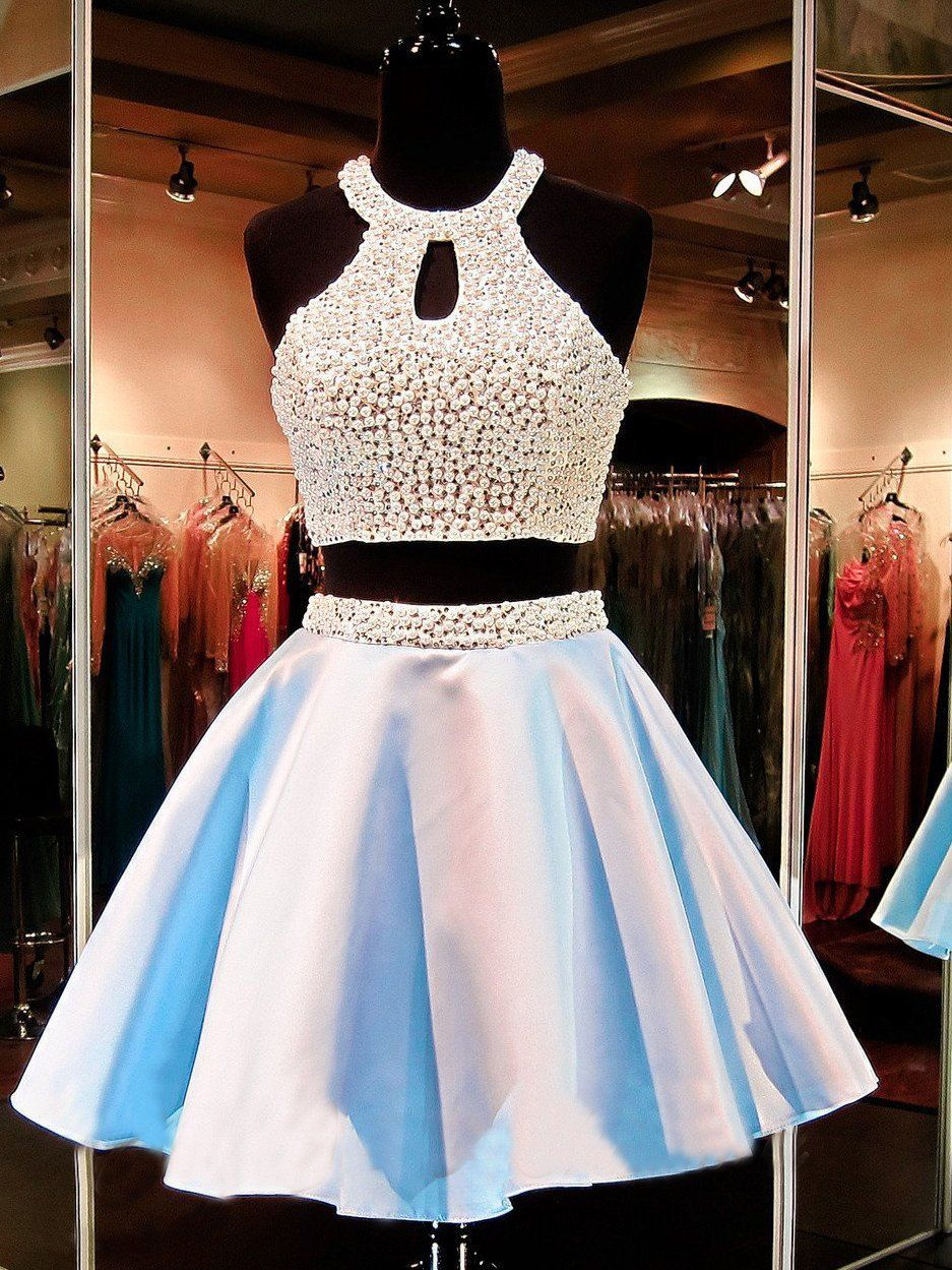 Two piece homecoming dresses beading sparkly short prom dress sexy