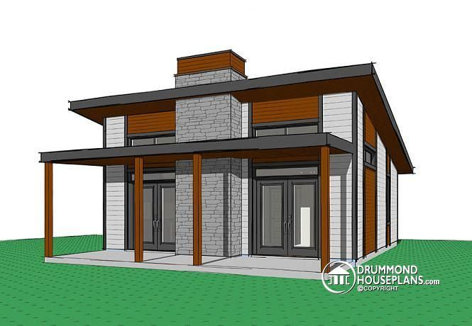 SMALL U0026 AFFORDABLE MODERN HOUSE PLAN Small Modern Cabin Or Small  Contemporary Home, 2 Bedrooms, Open Floor Plan, Fireplace, Large Covered  Patio ...