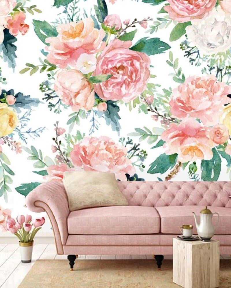 Vintage watercolor floral removable wallpaper, colorful