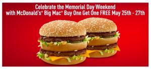 mcdonalds buy one get one free big mac