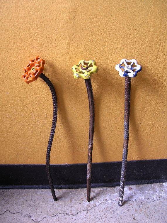 orange metal flower home and garden decor steampunk art flower - Orange Garden Decor