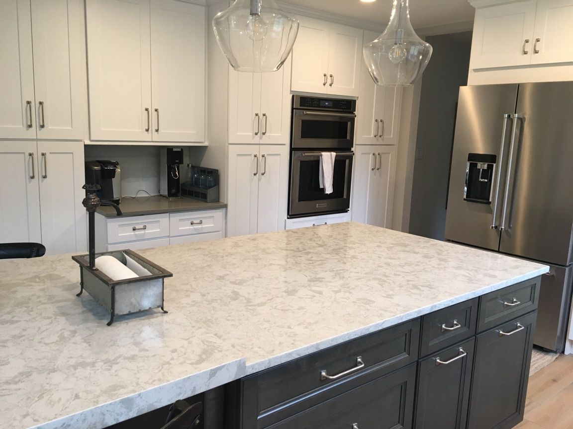 Quartz Countertop Installation featuring Pelican White