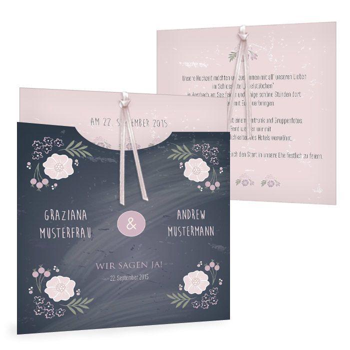 Einladungskarte Hochzeit Graziana Andrew Tafel Schwarz Rosa Modern Verspielt Blumen Hochzeitseinladung Karte Hochzeit Einladungen