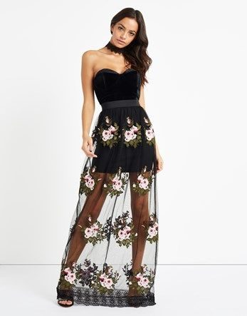Rare Lace Rose Embroidered Maxi Dress