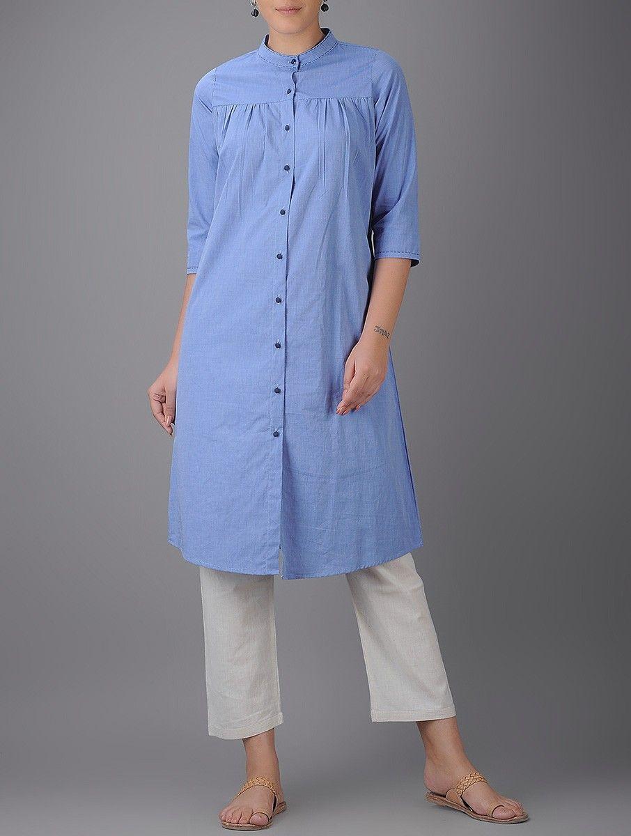 Buy blue buttondown cotton kurta online kurti pinterest kurti