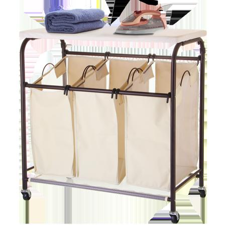 Mllieroo Mobile 3 Bag Heavy Duty Laundry Hamper Sorter Cart W