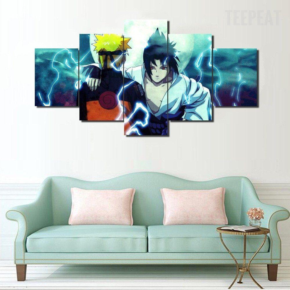 Naruto And Sasuke Painting 5 Piece Canvas Customized Canvas Art Canvas Art Wall Decor Anime Canvas
