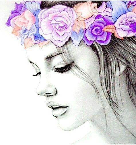 Joven Con Corona De Flores Rostros De Arte Madre Arte Lapices De Acuarela