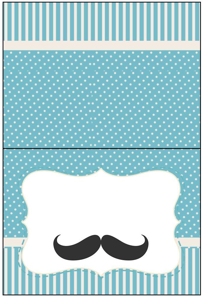 Cartão Agradecimento De Mesa Chá De Bebê Mustache Patterns