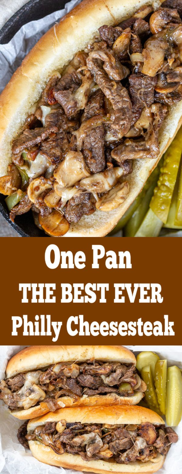 The BEST ever, juiciest Philly Cheesesteak all made in one pan. You will keep coming back to this recipe over an dover. Btw, they freeze well too! #beefsteakrecipe