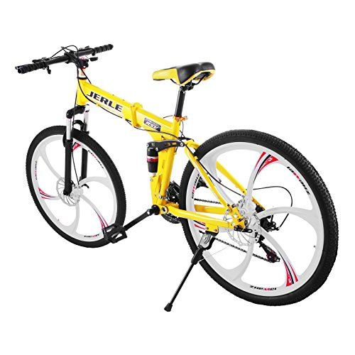 6892299dd2a VEVOR Folding Bicycles 26 Inch Full Suspension Folding Mountain Bike 21  Speed Shimano Mg Alloy 6