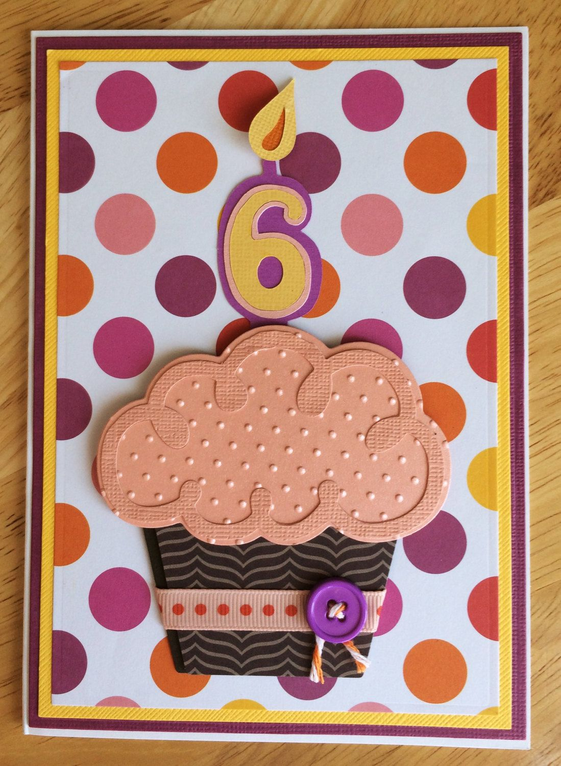 D cupcake handmade birthday card year old girl