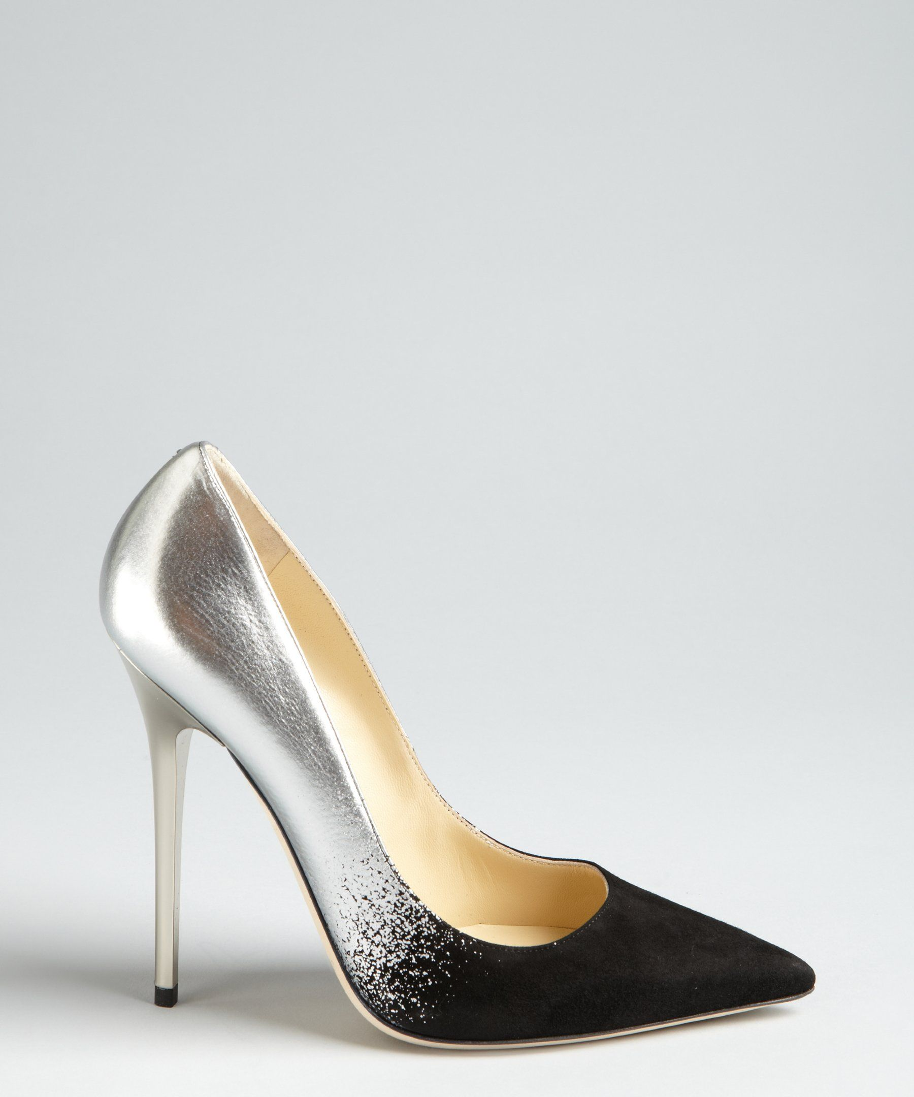 Jimmy Choo black suede and silver leather 'Anouk' pumps
