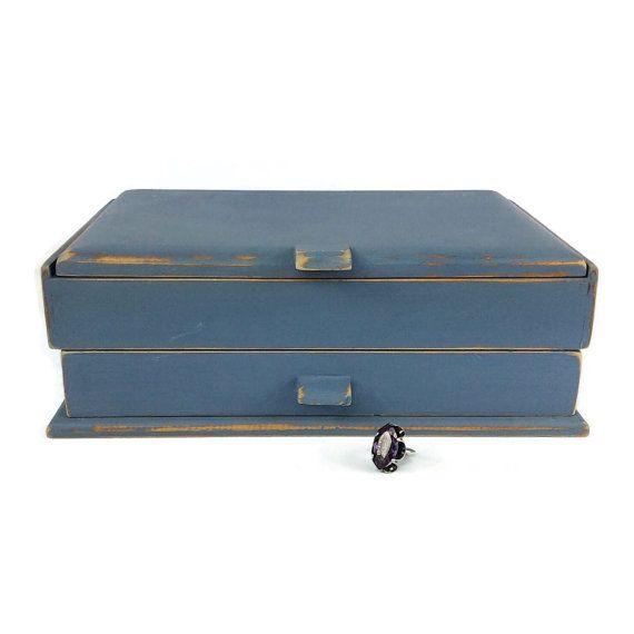 NAUTICAL JEWELRY BOX Blue Distressed Wood Jewelry by ShabbyShores