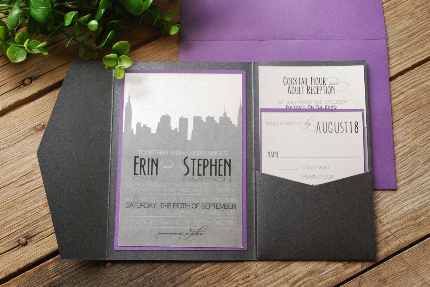 wedding invitation new york skyline purple and black with pocket and inserts