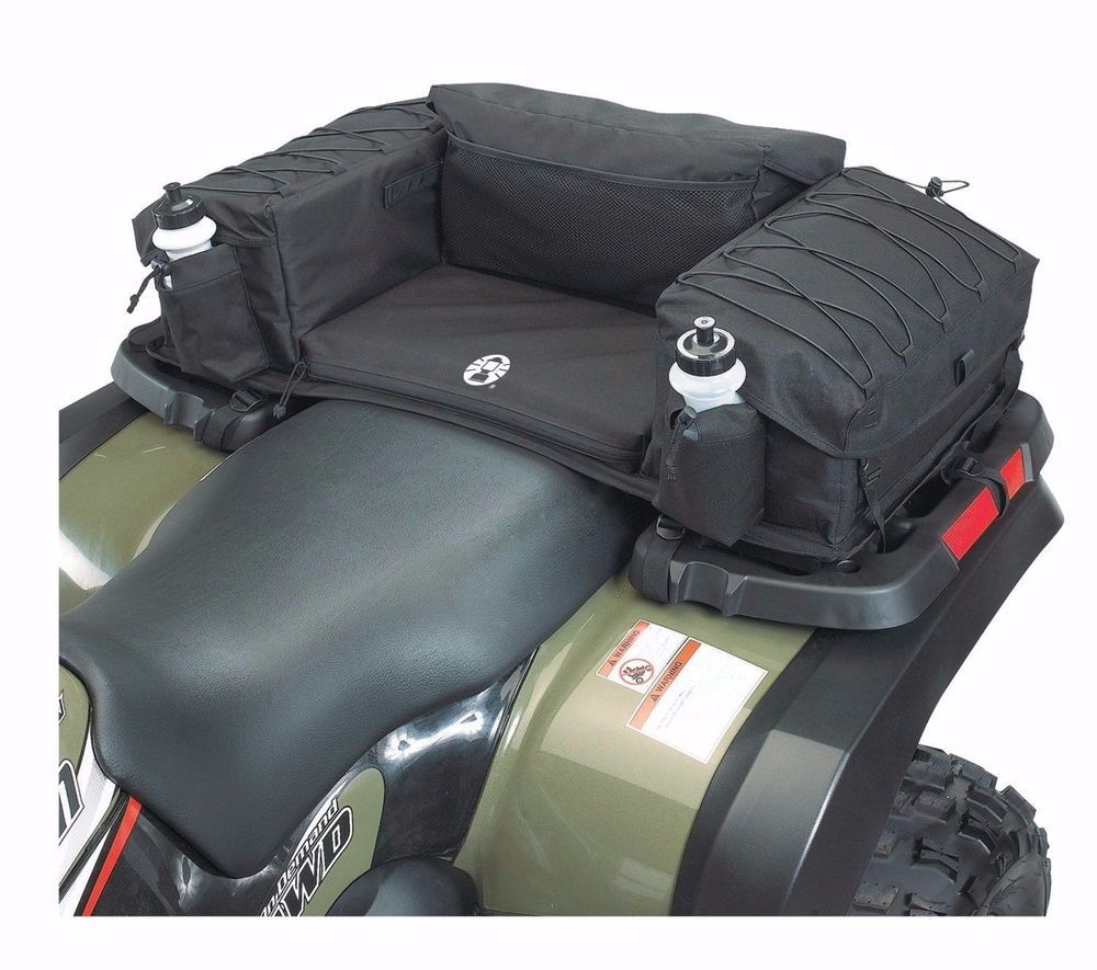Black ATV Wrap-Around Rear Rack Storage Bag Seat Pad Padded Back Rest Cargo