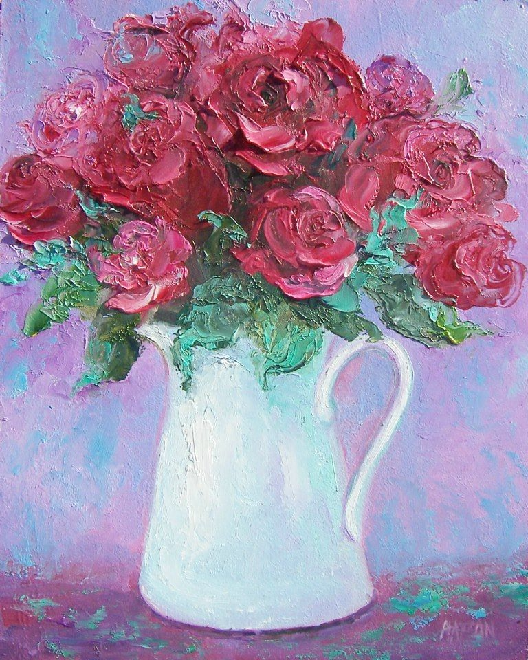 Pin by Jane Gurley on 정물화 Rose painting, Flower painting