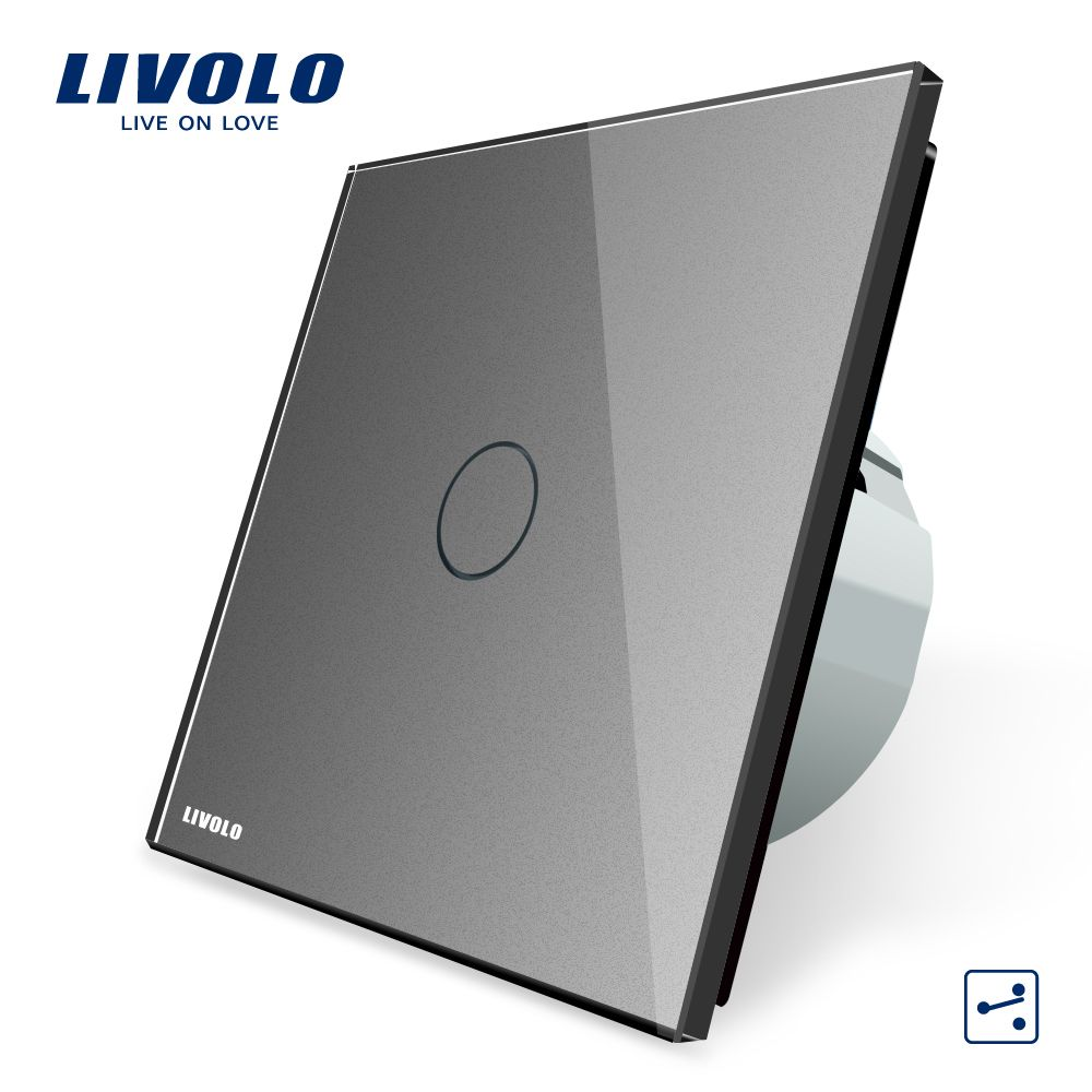 Livolo eu 표준 벽 스위치 2 방법 제어 스위치, 회색 크리스탈 유리 패널, 벽 빛 터치 스크린 스위치, VL-C701S-15