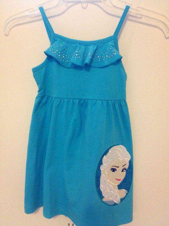 Frozen Elsa applique sundress with ruffled neckline