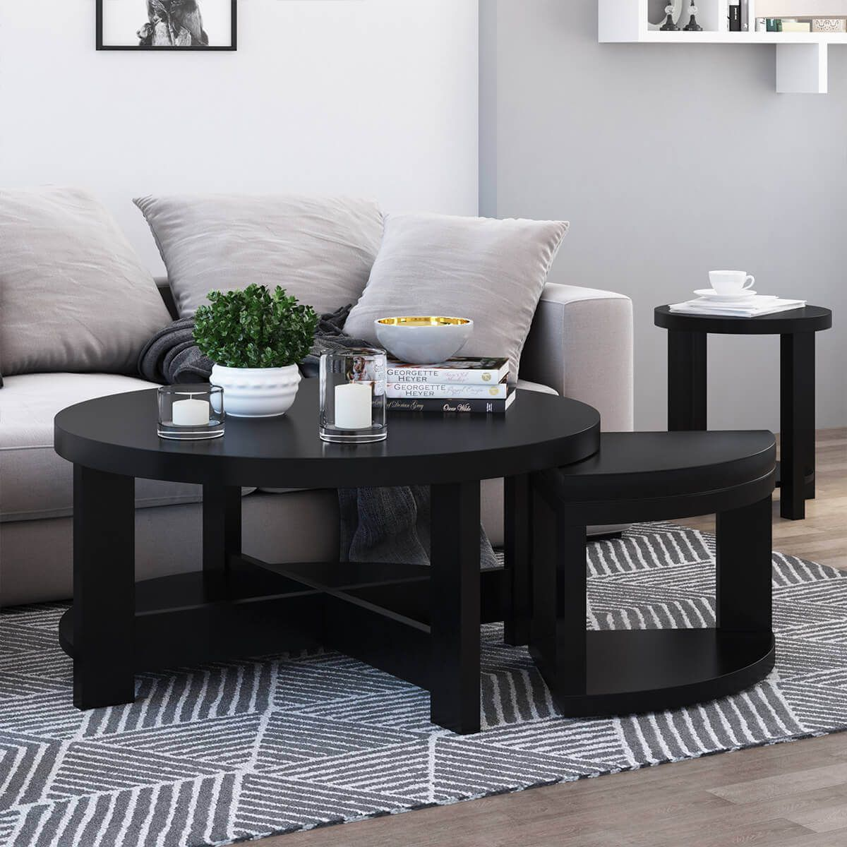 Zayante Rustic Solid Wood Round Nesting Coffee Table Set Of 3 Coffee Table Nesting Coffee Tables Round Nesting Coffee Tables [ 1200 x 1200 Pixel ]
