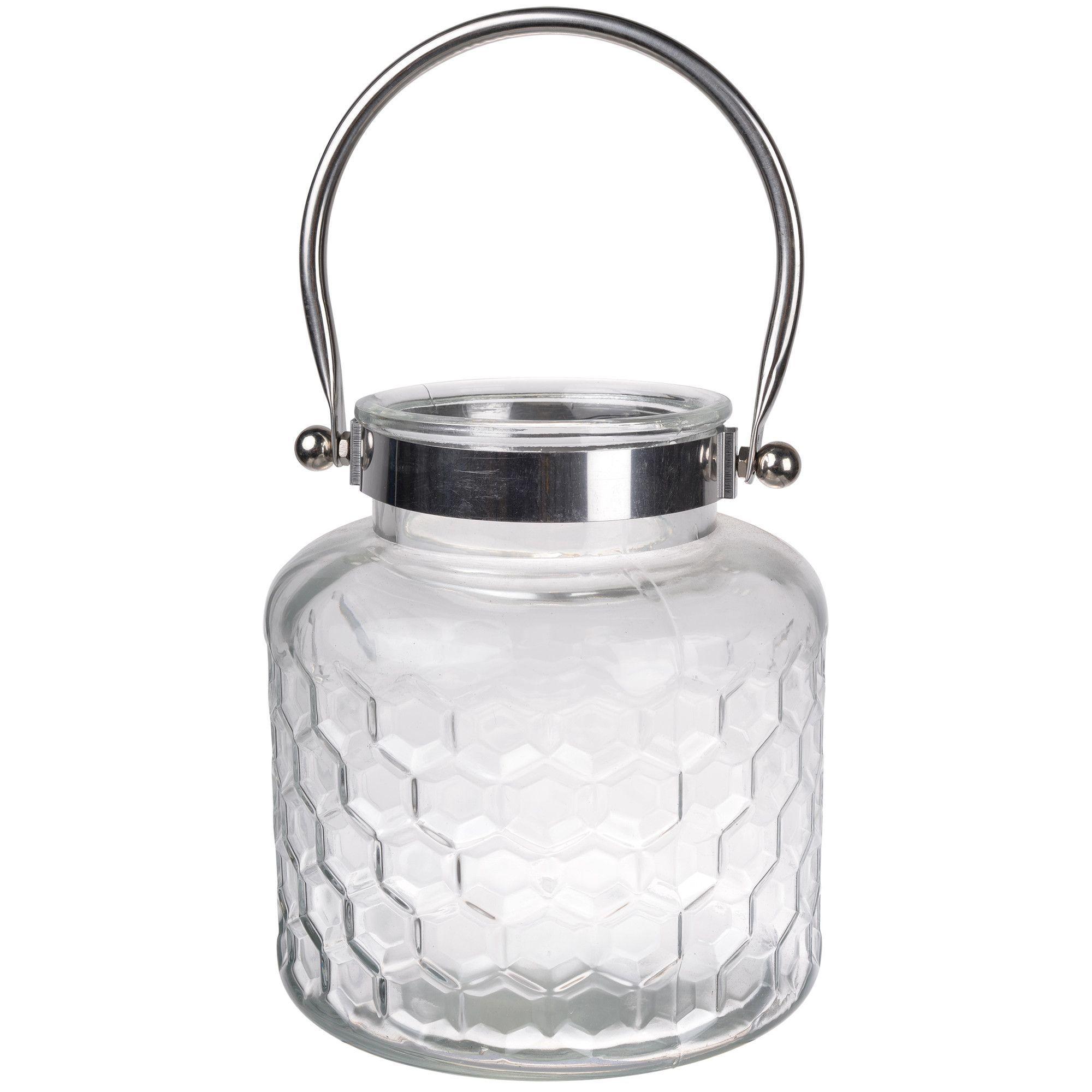 Glass and Metal Lantern (Set of 2)