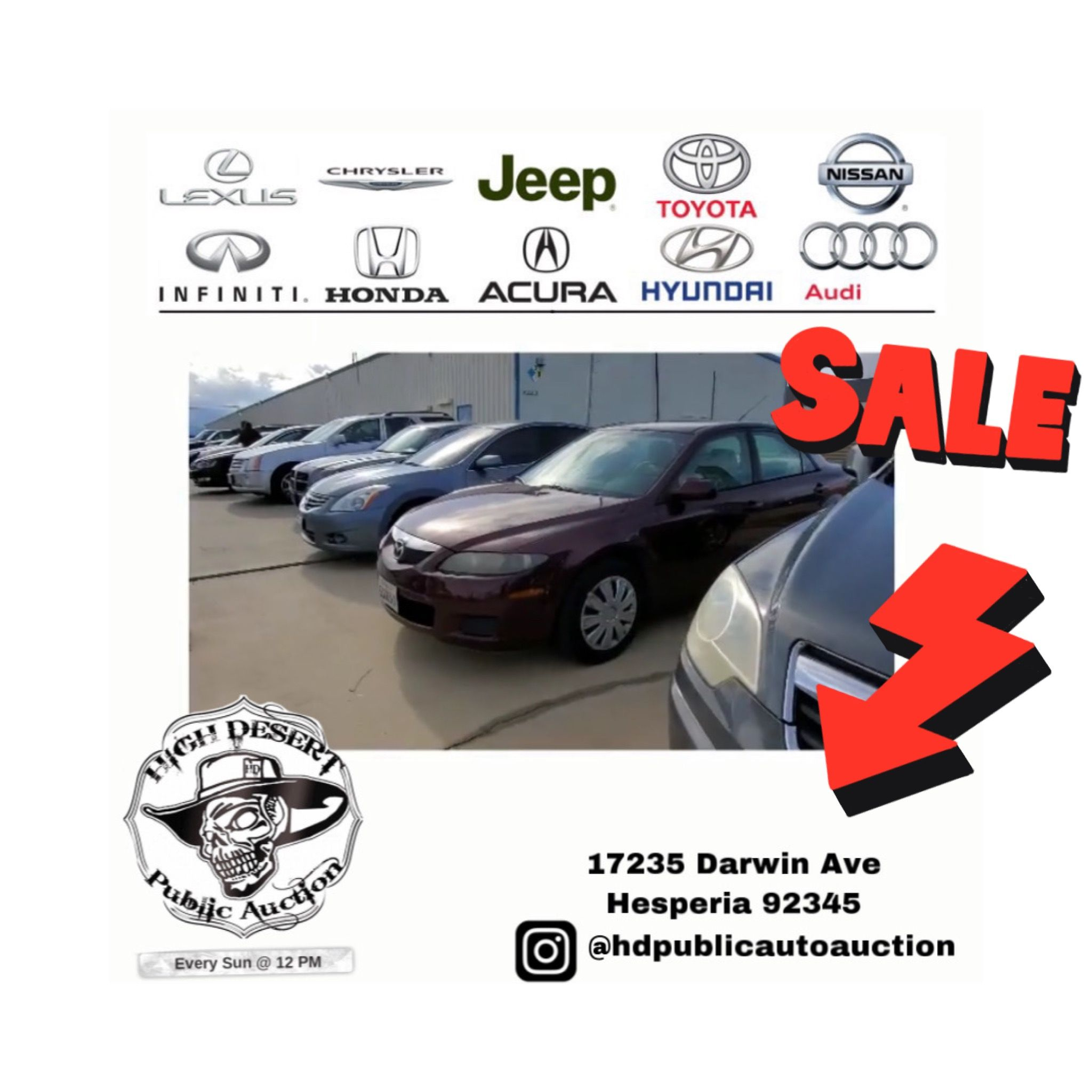 Wholesale Pricing Free Entry Vehicle Auction Open To Public Every Sunday Open 12pm Vehicle Viewing We Start Selling At 1pm In 2020 Car Auctions Car Shop Hesperia