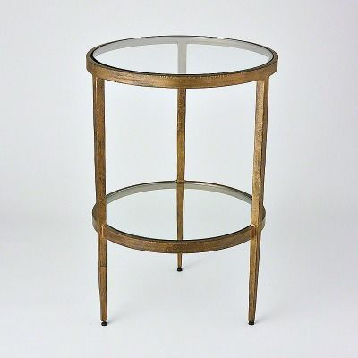 Laforge Two Tiered Side Table Antique Gold