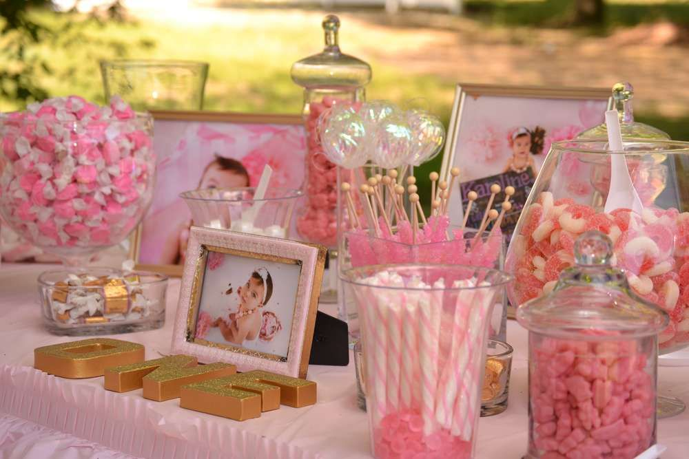 candy buffet at a pink and gold birthday party see more party planning ideas at