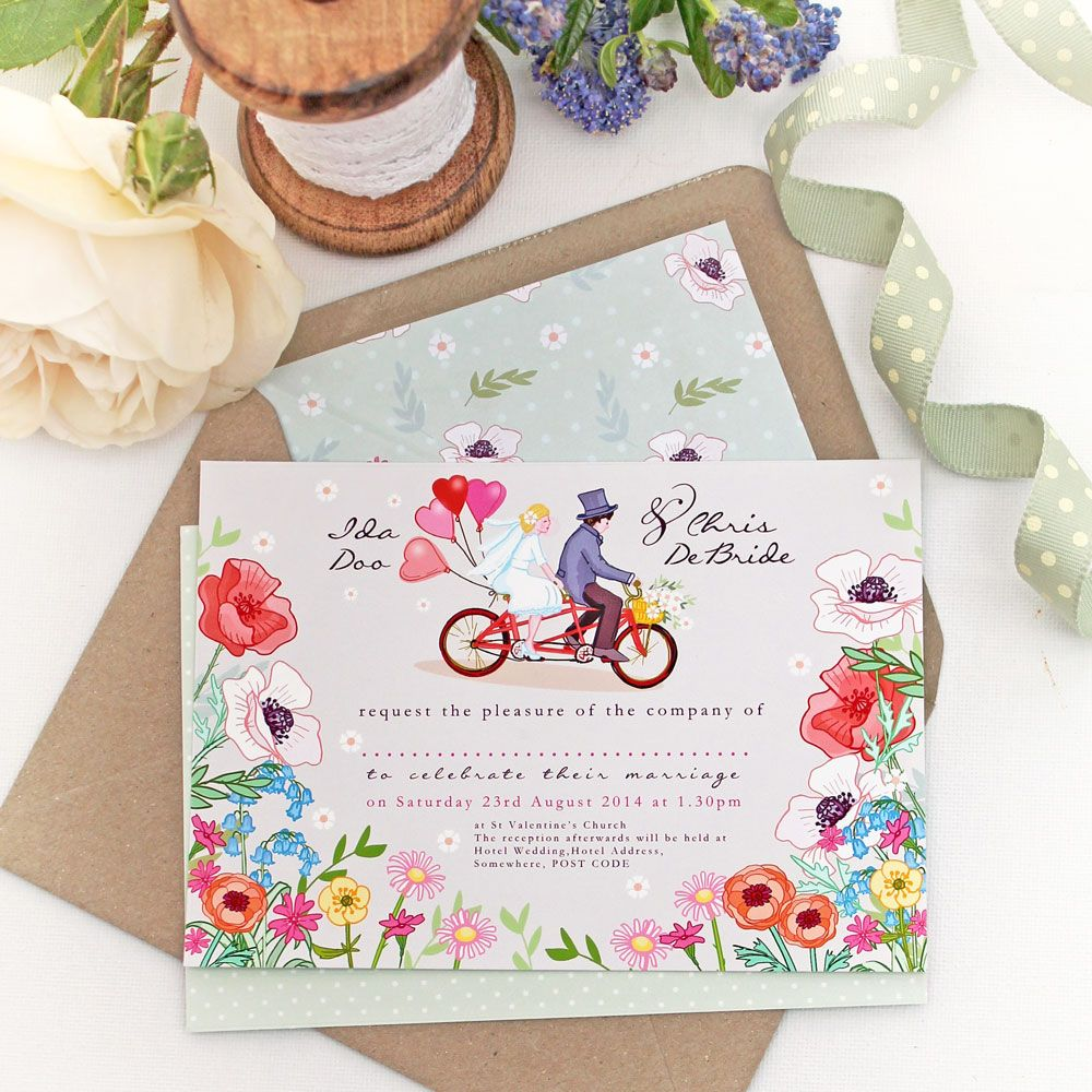 DIY Wedding Stationery Set - Bicycle for Two - Poppies #weddings ...