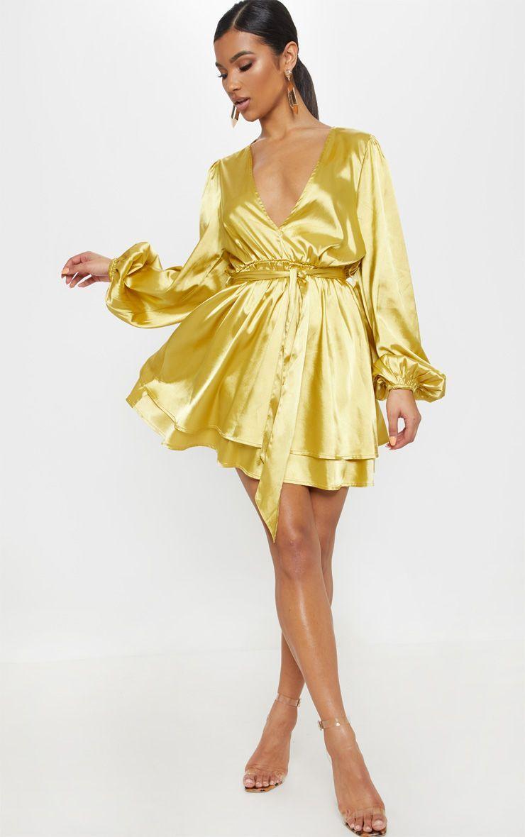 Chartreuse satin balloon sleeve shift dress satin