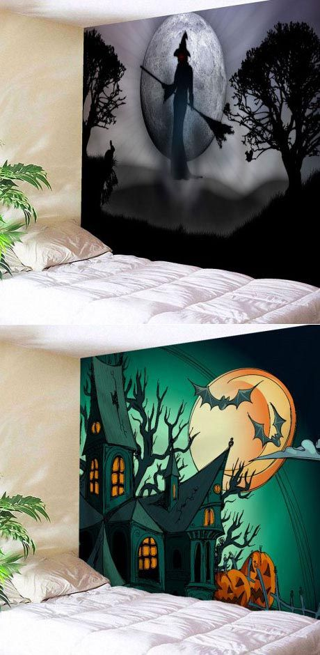 60+ Halloween tapestry Ideas for a Spooky Party Apartment porch - halloween ideas party