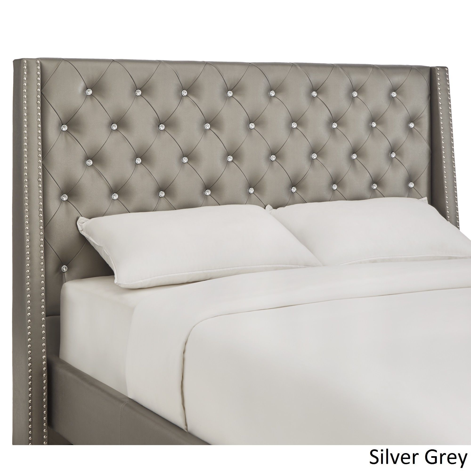Aurora Faux Leather Crystal Tufted Nailhead Wingback Headboard by Inspire Q  (King Headboard - Silver Grey)